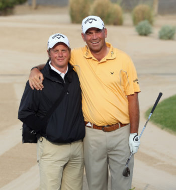 Mike Walker, left, with Thomas Bjorn (courtesy of Getty Images)