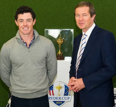Rory McIlroy and George O'Grady, Chief Executive of The European Tour (Sky Sports)