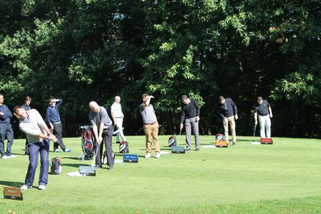 TGI Golf Partners try out Titleist's range of golf balls during the Titleist Brand Experience Day at Brocket Hall