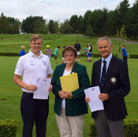 The new Yorkshire County Golf Partnership was officially launched at the signing by (left to right) Andy Herridge, Yorkshire PGA Captain for 2014, Sandra Fenn, County Captain of the Yorkshire Ladies' County Golf Association, and John Shaw, President of the Yorkshire Union of Golf Clubs