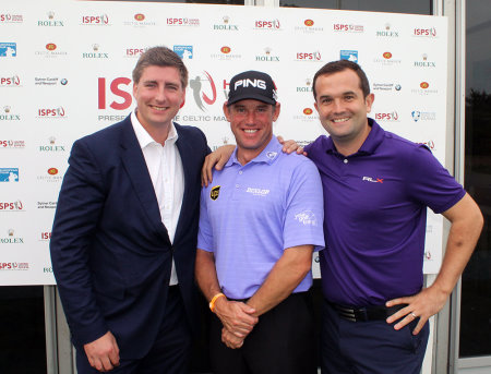 Your Golf Travel founders Ross Marshall & Andrew Harding pictured with Lee Westwood
