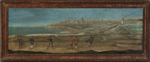 A painting from the 1720s taken from the perspective of what is today the 17th fairway and would have been somewhere near the 20th hole prior to 1764. (Reproduced by kind permission of The Royal and Ancient Golf Club of St Andrews)