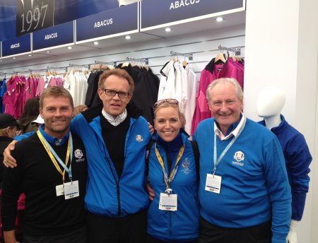 (from left) Enjoying the atmosphere of The 2014 Ryder Cup, Kim Kjaersgaard Frandsen, board member of Abacus Sportswear, Sven-Olof Karlsson, CEO and Owner of Abacus Sportswear, The 2015 Solheim Cup European Team Captain, Carin Koch, and Henrik Treschow, Chairman of Abacus Sportswear