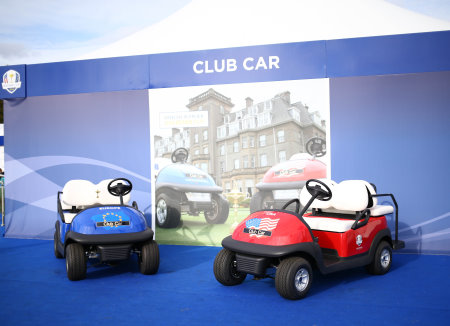 The Club Car stand at The 2014 Ryder Cup, showcasing cars for both teams