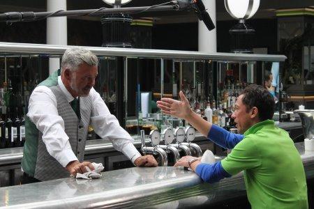 Darren Clarke and Frankie Dettori in the Brabazon Bar