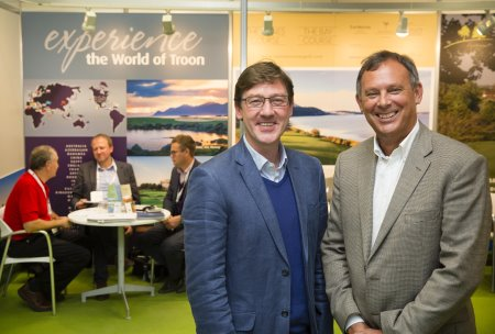 Ian Bulleid of Troon (right) and Jonathan Smith of GEO at the International Golf Travel Market