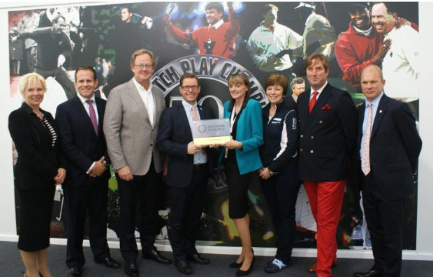 During the staging of the 2014 Volvo World Match Play Championship, London Golf Club receives the Investors in People Gold Award. (L-R) Alex Taskin, IiP Assessor, David Umpleby, Director IiP South, Per Ericsson, President of Volvo Event Management, Paul Devoy, Head of IIP, Janet Smith, LGC HR & Office Manager, Valerie Steele, PGA European Tour Administrator, Austen Gravestock, LGC Chief Executive, Guy Kinnings, IMG Head of Golf