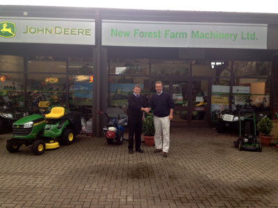 New Forest Farm Machinery's turf sales director Nick Clarke (right) welcomes new professional turf equipment salesman Robin Woods to the dealership.