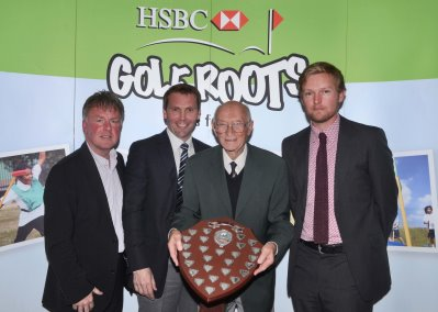 Hugh Wickham (second right) presents the Wickham Shield to the PGA team, which was made up of Robert Maxfield, team professional David Griffiths, Paul Robertson and Steve Thorp