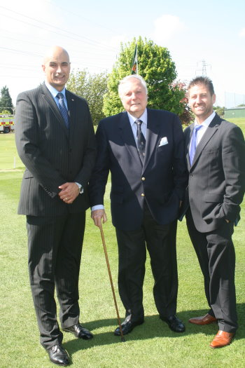 Pin High's Roger Hyder and Tony Healy with Canterbury Honorary Vice President Peter Alliss