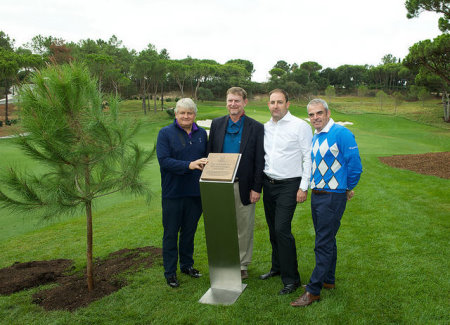 from left) Quinta do Lago owner Denis O'Brien, American architect Beau Welling and the resort's chief executive John Dwyer with Paul McGinley