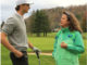 Seve Prins of The Netherlands receives advice from Fanny Sunesson on the Old White TPC course at The Greenbrier in West Virginia, USA