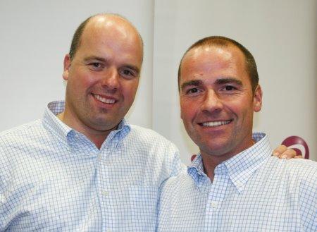 Outgoing TGI Golf chairman Gordon Stewart (left) with his successor Paul McEvoy.