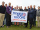 PGA chief executive Sandy Jones (third from right) and Tickets for Troops chairman Lord Marland (third from left) with Armed Forces personnel (courtesy of Adrian Milledge)