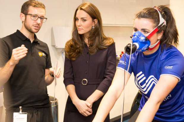 The Duchess learns about Emma's respiratory test (courtesy Nathan Gallagher/SportsAid)
