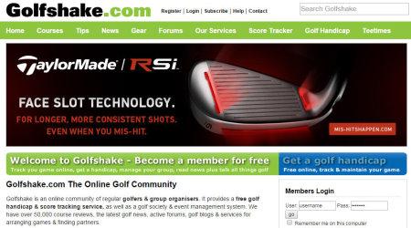 Golfshake webpage
