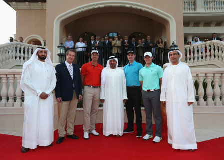 (from left) HE Mohammed Al Shibani (Director General of HH Ruler's Court and CEO of the ICD); George O'Grady (Chief Executive of The European Tour), Henrik Stenson of Sweden, HH Sheikh Ahmed bin Saeed Al Maktoum (President of Dubai Civil Aviation and Chairman and Chief Executive of Emirates airline and Group), Justin Rose of England, Rory McIlroy of Northern Ireland and HE Abdul Rahman Al Saleh (Chairman of Jumeirah Golf Estates) pose for a photograph during the official opening of the new clubhouse at the DP World Tour Championship at Jumeirah Golf Estates (Getty Images)