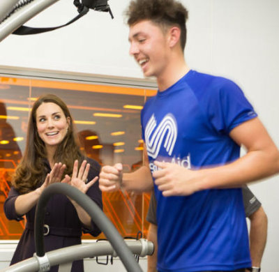 Marco Penge, watched by the Duchess (courtesy Nathan Gallagher/SportsAid)