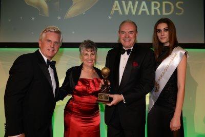 Steve Rider, host; Pamela Gromadzki, Director of International Marketing at Modry Las Golf Club and Arthur Gromadzki, Chairman of Modry Las Golf Club.