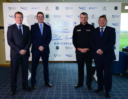 (l-r) Marcus Day, the Head of the Global Golf Division of 4sports, Ben Cowen, The European Tour's Deputy Director of International Policy, Paul Lawrie, and John Black, Vice Captain of Murcar Links Golf Club