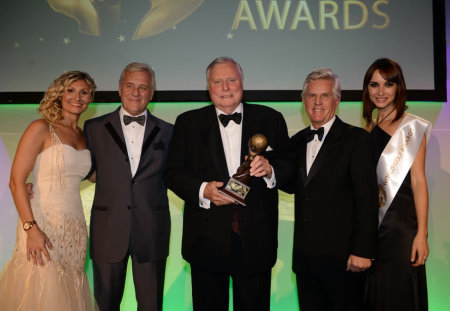 Peter Alliss was recognised with the Lifetime Achievement Award for Services to the Golf Industry (from left) Ela Clark; Graham Frost, Senior Consultant World Golf Awards; Peter Alliss; Steve Rider