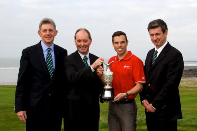 (l-r) Huw Jenkins, Captain of Royal Porthcawl GC; Andy Stubbs, Managing Director of the European Senior Tour; Ken Skates, Deputy Minister for Culture, Sport & Tourism; Michael Newland, Secretary of Porthcawl GC.
