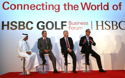 """HSBC Global Head of Sponsorship & Events Giles Morgan (above right) said, """"We are delighted that the 2015 HSBC Golf Business Forum will be hosted at the Pudong Shangri-La, situated close to our HSBC offices in Shanghai"""