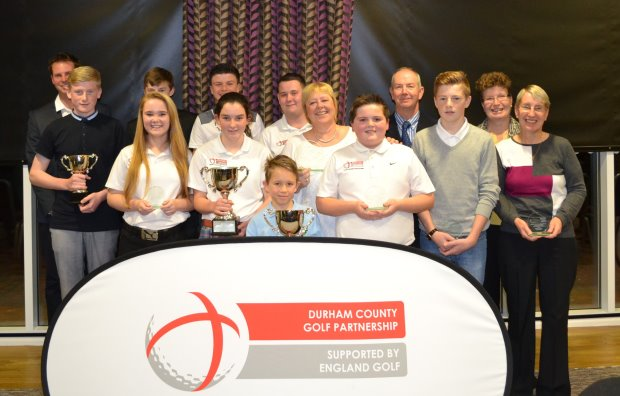 Award winners line up at the Durham County Golf Partnership's second Development Awards evening