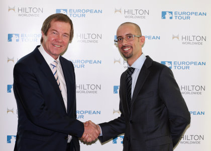 The European Tour's Chief Executive George O'Grady and Aligi Gardenghi, Vice President Marketing, Europe, Middle East & Africa for Hilton Worldwide (Getty Images)