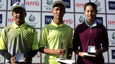 Aryan Kumar [left], Arun Tamang [centre] and Aditi Ghimire [right] were the age-group winners in the Faldo Series Nepal Championship