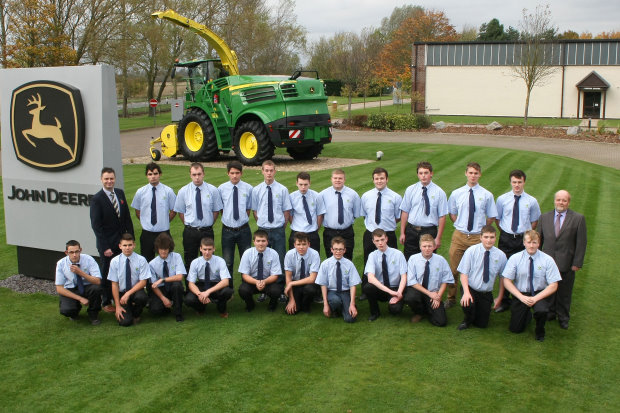 The new 2014/2015 intake of John Deere Ag and Turf Tech apprentices at Langar during their autumn induction, with John Deere and Babcock training managers