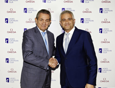 OMEGA President Stephen Urquhart (left)with LET CEO Ivan Khodabakhsh announcing the Ladies European Tour's 10-year partnership with OMEGA