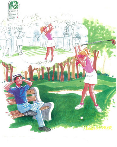 Modern Man and Modern Woman on golf course (Roger Mahler)