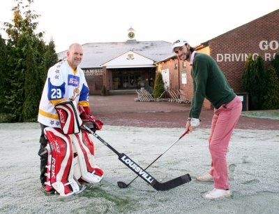 Father and Son face off at golf resort - Pro Golfer Matt Killen and father Frankie, former Durham Wasps Ice Hockey net minder at Ramside Hall Hotel and Golf Club