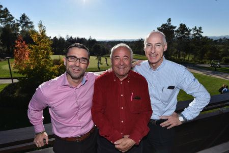 (from left) Julio Delgado, Chief Executive Officer of PGA Catalunya Resort; Angel Gallardo, co-designer; Mike Stewart, The European Tour's Qualifying School Director (Getty Images)