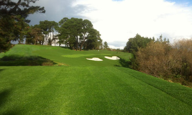 The new 10th green, viewed from the forward Men's tees