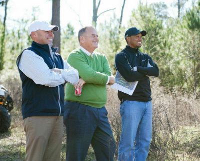Bluejack National Developers Casey Paulson and Michael Abbott with Course Designer Tiger Woods