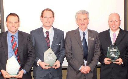 (from left) Glenn Kirby, Hockley Golf Club, Rhys Butler, Royal St David's Golf Club, Gordon McKillop, CEO – STRI, John Kelly, Royal Birkdale Golf Club