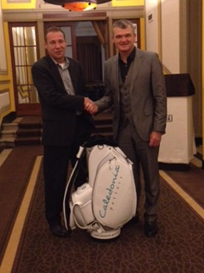 The founder of Caledonia Golf, Claus-Peter Maier with Paul Lawrie