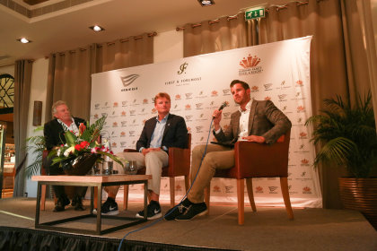 The press conference at The Els Club Dubai (from left) Mike Scully, Managing Director First & Foremost Hotels and Resorts, Ernie Els, founder of Els for Autism Foundation and Florian Mayer, Mayer Family Hotels