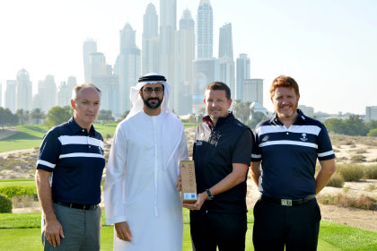 8th hole on the Majlis course at Emirates Golf Club (from left): Christopher May (Chief Executive Officer - Dubai Golf), Mustafa Al Hashimi, (Chief Executive Officer Hospitality & Leisure – wasl Asset management), Craig Haldane (Director of Golf Course Maintenance – Dubai Golf), Andrew Whitelaw (General Manager – Emirates Golf Club)