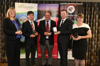 Golf Union of Wales Awards (from left) Nicola Stroud, Evan Griffiths, Jamie Donaldson, Tenby captain Richard Ormond and Grace Roberts