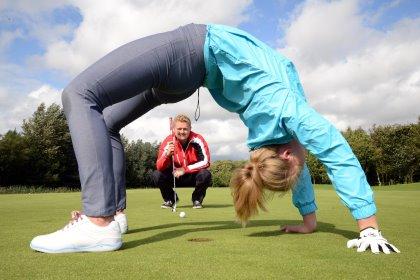 Gymnast Kate Gibson and Ramside Golf Club Junior Champion Matthew Stephenson mark the launch of Flexi-Golf membershipsat Ramside Hall