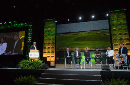 (from left) Peter Dawson, Ty Votaw, Suzann Pettersen, Graeme McDowell, Amy Alcot and Gil Hanse take to the stage at the Olympic Golf Forum during the 2015 PGA Show in Orlando