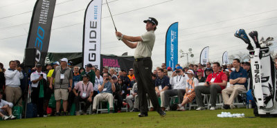 Bubba Watson hits his shot during Demo Day at the 62nd PGA Merchandise Show at the Orange County National Golf Course January 2015. (Photo by Montana Pritchard/The PGA of America)