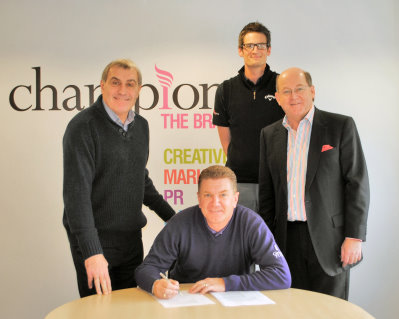 Paul Broadhurst signs with Champions UK plc CEO John Hayes far right, Champions of Golf Manager Lloyd Bailey second from the right and long term Champions celebrity client England's most capped player of all time Peter Shilton OBE