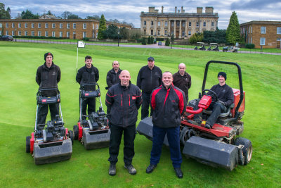 Heythrop Park Resort Estate Manager Steve Cherry (front right) with his deputy Brett Smith (front left) and members of the resort's Estate & Course Management team