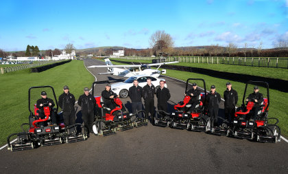 Phil Helmn, centre, with from left Goodwood's Rob Dyer, Sean Blyth, Russell Carr, and Billy Nash; John Cole, JSM, Larry Pearman, Lely, and Chris Stone, Adrian Gale and Andy Brown from Goodwood.