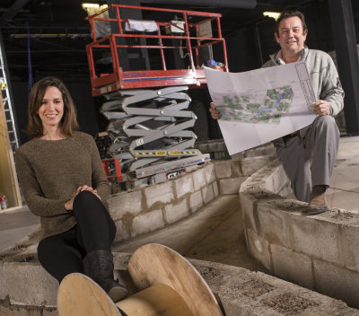 Elizabeth Perrin, co-founder & CEO of Treetop Adventure Golf and Chris Richards