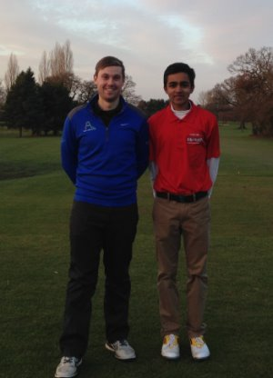 Hatchford Brook Golf Club PGA professional Aaron Lansberry (left) with Ali Jodiyawalla, 15, from Solihull, who has clocked up more than 300 hours voluntary work. His achievement has been recognised with a certificate and pin badge from England Golf